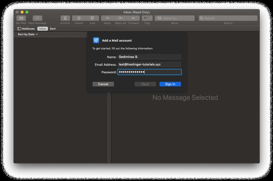 Ingresando datos personales en el cliente de Mac Mail