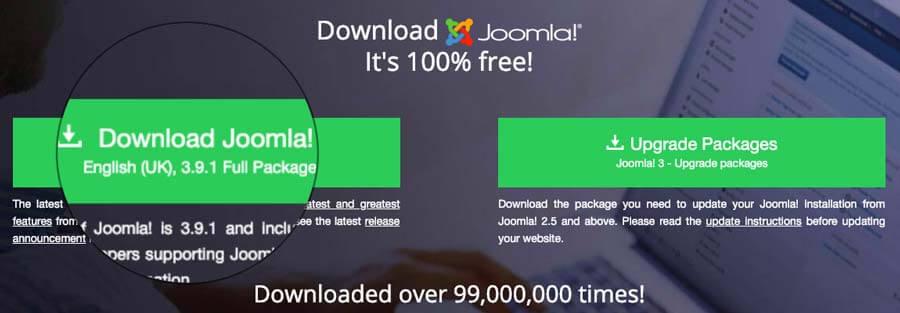 Descargando los archivos de instalación de Joomla CMS