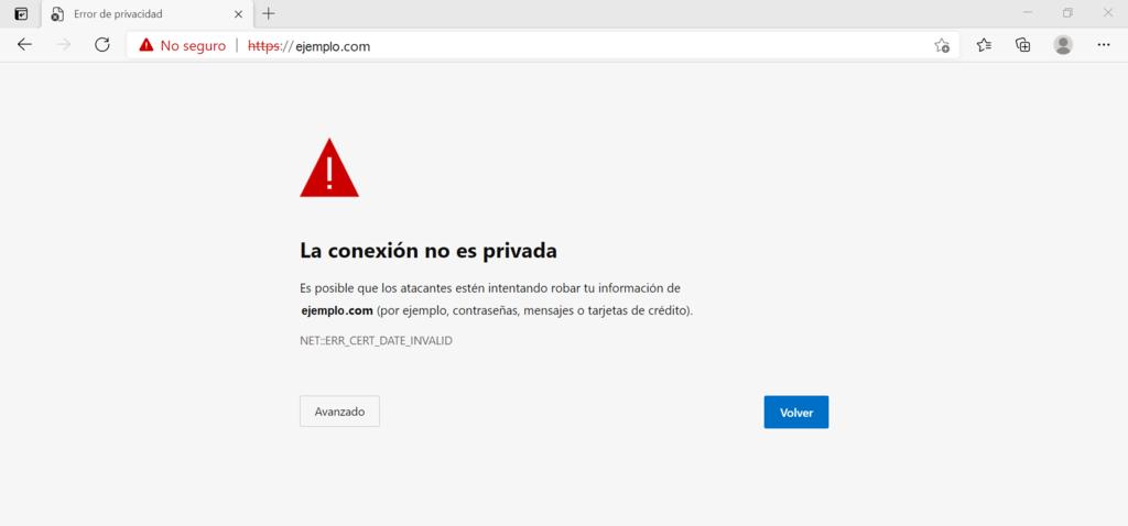 """Captura de pantalla mostrando """"La conexión no es privada"""" en Edge"""