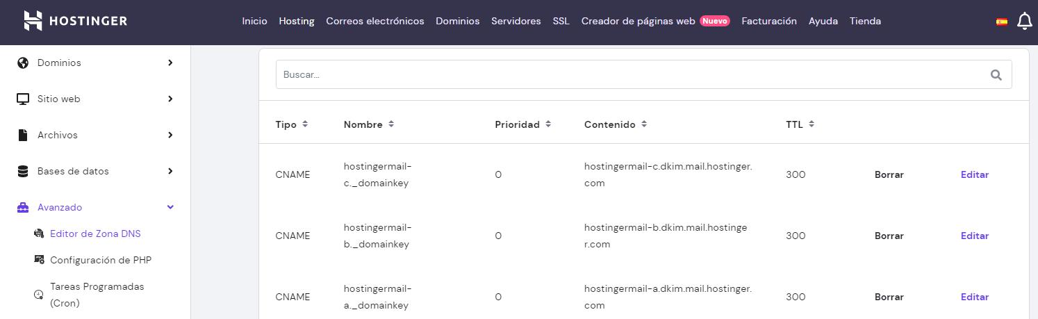 Borrar o Editar registros DNS en el hPanel de Hostinger