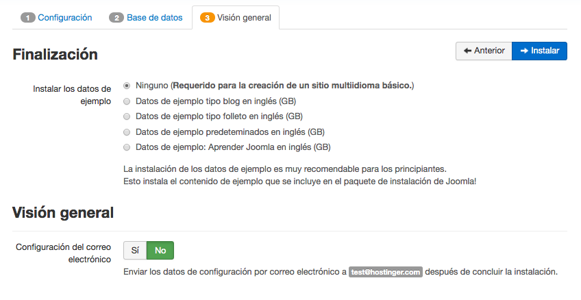 Instalación manual de Joomla - paso final