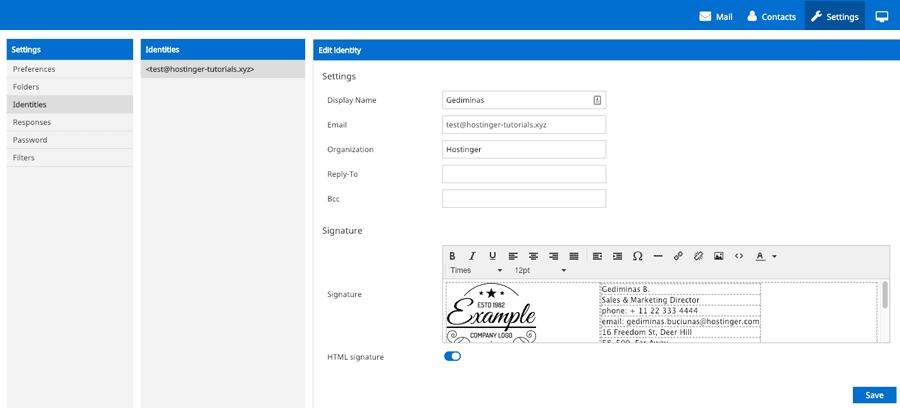 Agregar una firma de correo electrónico HTML en el correo web de Hostinger