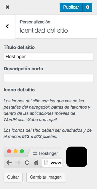 Personalizador de WordPress- cómo cargar un favicon