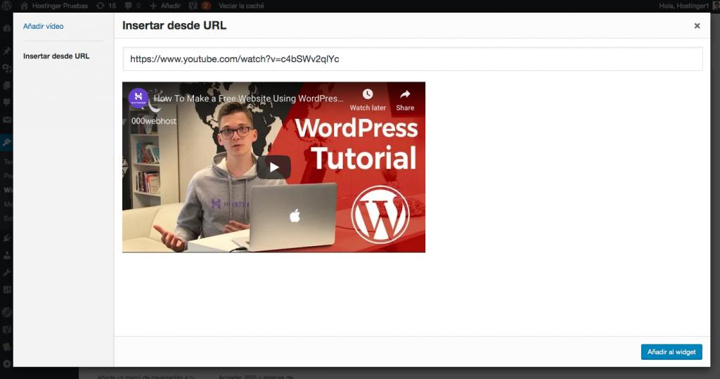 Agregando el enlace de youtube al widget de video