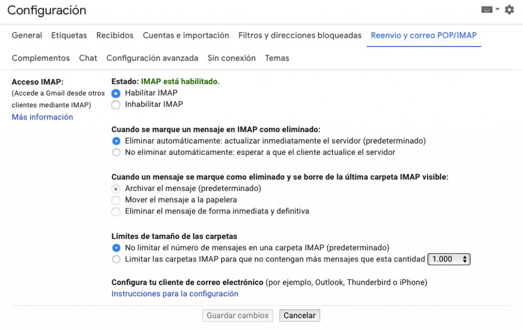 Localización de las instrucciones de configuración del cliente de correo electrónico en GSuite