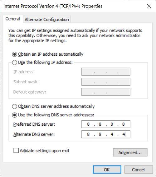Ajustar la configuración de IPv4.