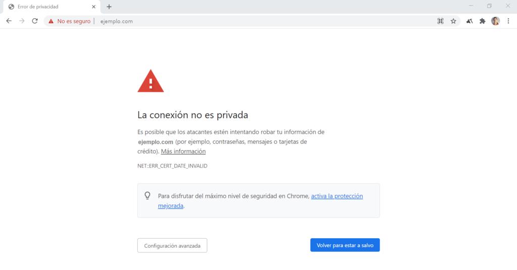 """Captura de pantalla del error """"La conexión no es privada"""" en Google Chrome"""