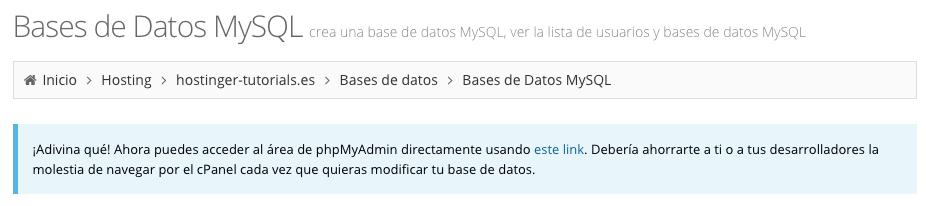 Enlace directo phpMyAdmin en el panel de Hostinger