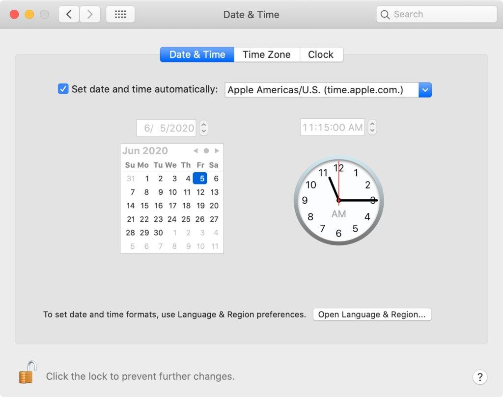 Cambiar la configuración de fecha y hora en macOS.