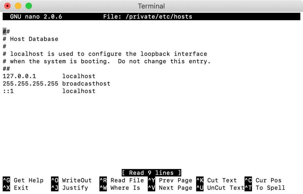 Ajustar el archivo de hosts de macOS.