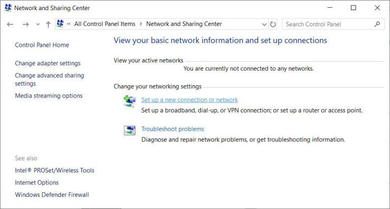 Centro de redes y recursos compartidos en Windows 10.