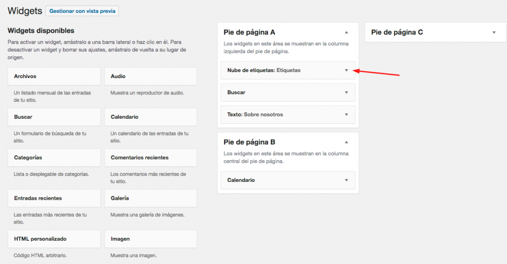 Mostrar etiquetas de WordPress en el widget de nube de etiquetas
