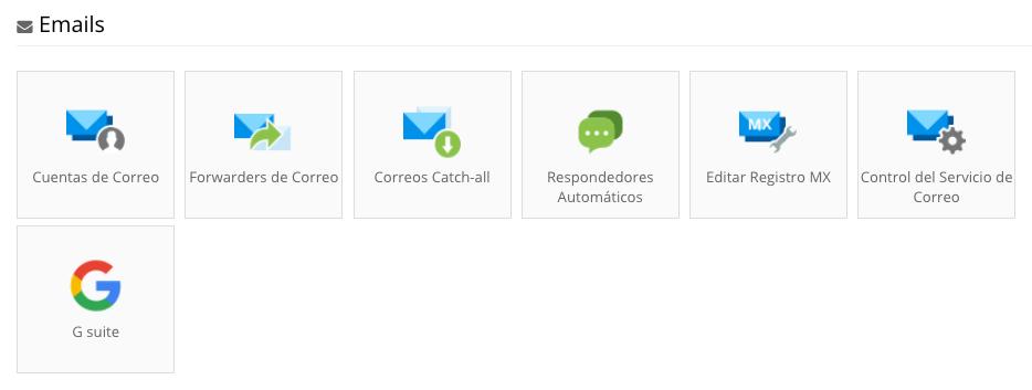 Herramientas de gestión de correo electrónico disponibles con todos los planes de alojamiento web.