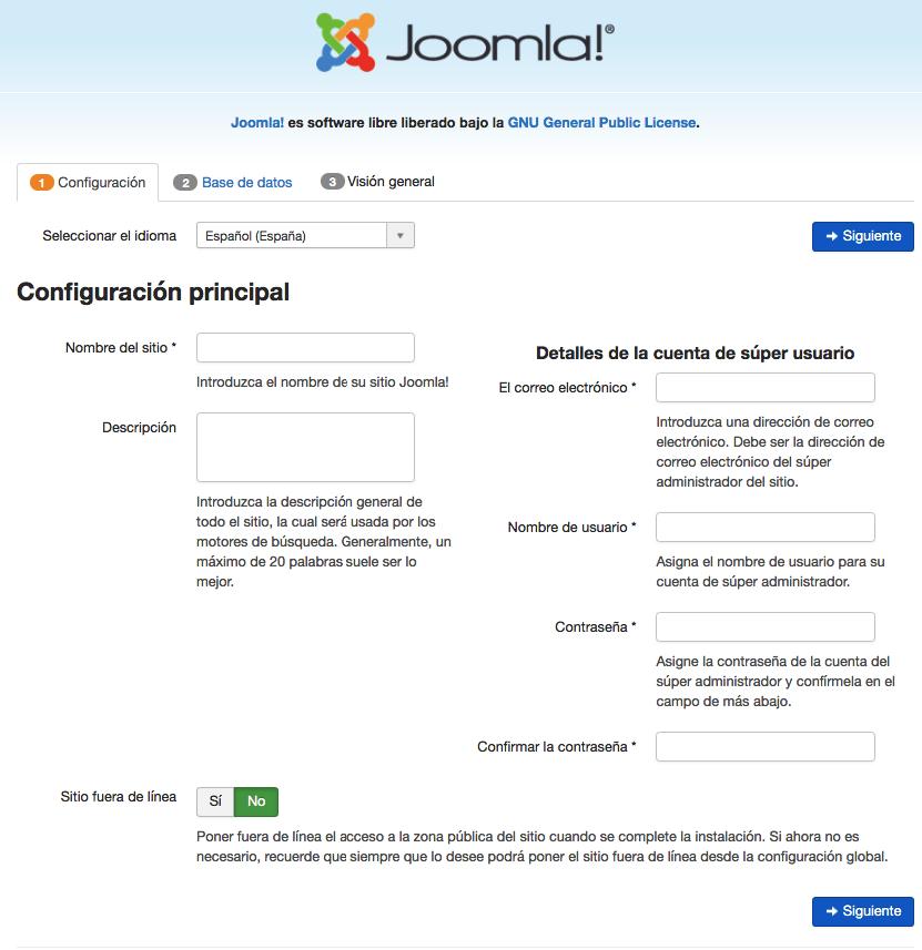 Instalando Joomla manualmente - configuración principal