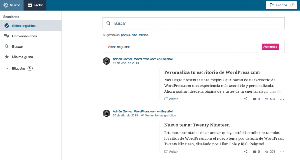 lector de wordpress rss dentro