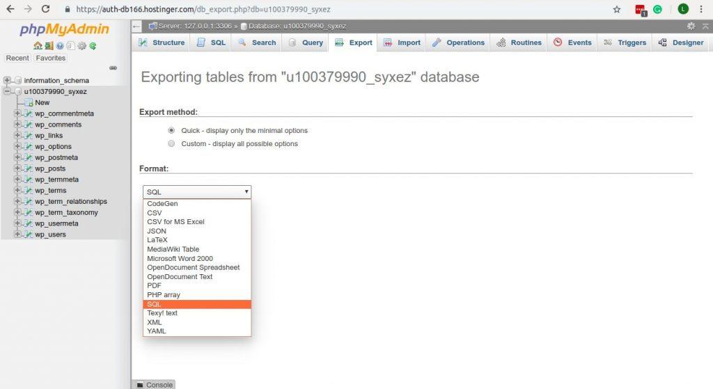 Creando copia de seguridad con phpMyAdmin