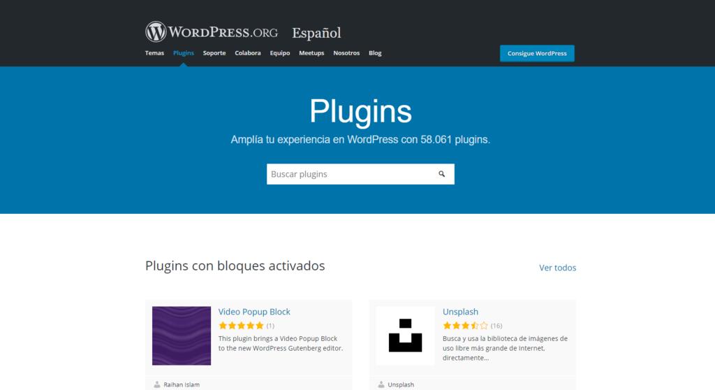 Página de inicio del directorio de plugins de WordPress