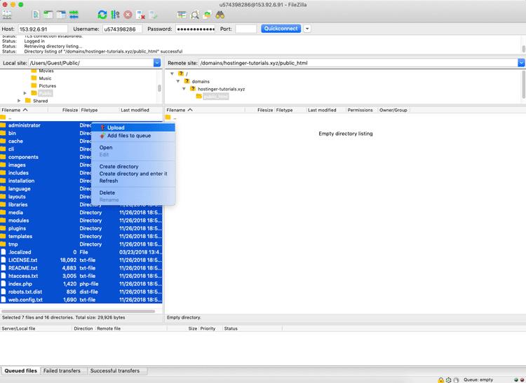 Subir archivos de configuración de Joomla a través del cliente FTP FileZilla