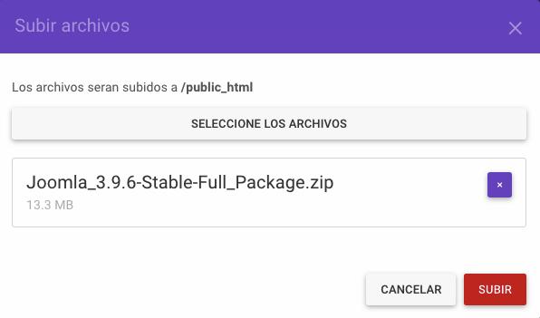 Subir una instalación de Joomla archivada en el directorio public_html