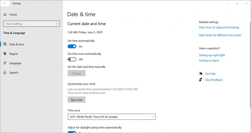 Cambiar la configuración de fecha y hora en Windows 10.