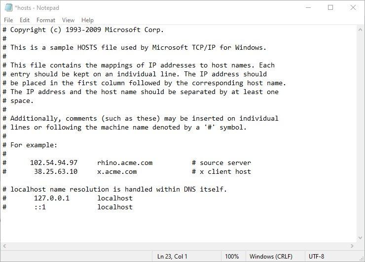 Ajustar el archivo de hosts de Windows.