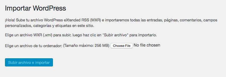 Importar WordPress, eligiendo archivo XML para subir.