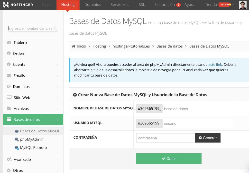 Bases de datos MySQL en el panel de control del Hostinger