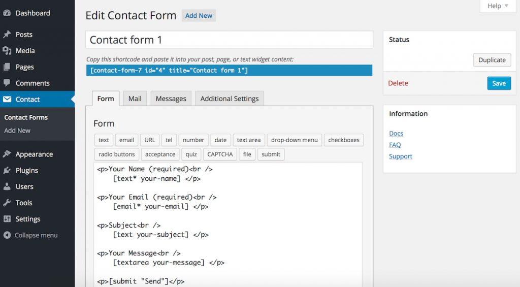 Página de configuración de Contact form 7
