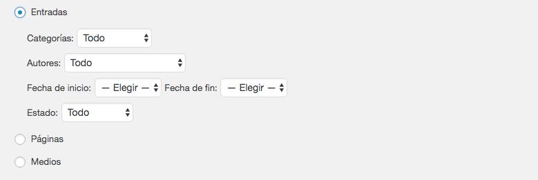 Una sección de la página de exportación donde puedes elegir qué mover.
