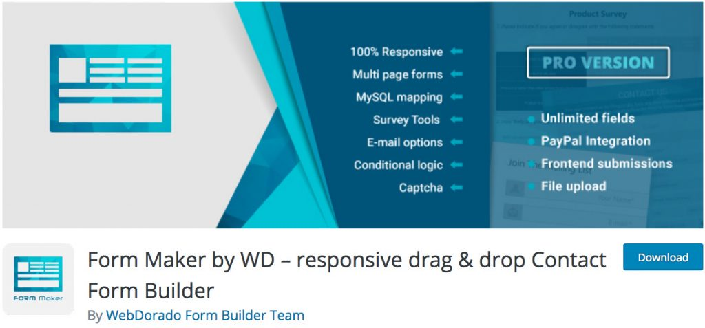 Form Maker by WD plugin de formulario de contacto de WordPress