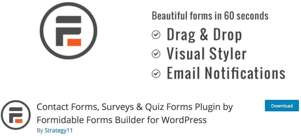 Formidable Forms Plugin formulario de contacto WordPress