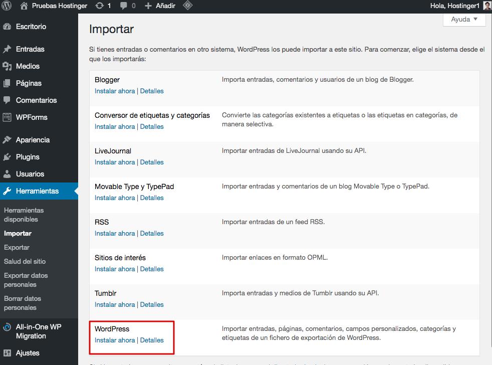Página de importación de WordPress