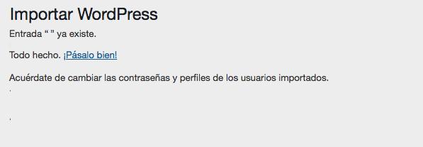 Proceso exitoso de importación de WordPress