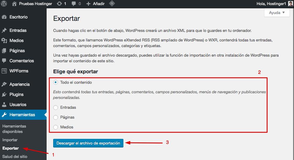 Página de exportación de WordPress