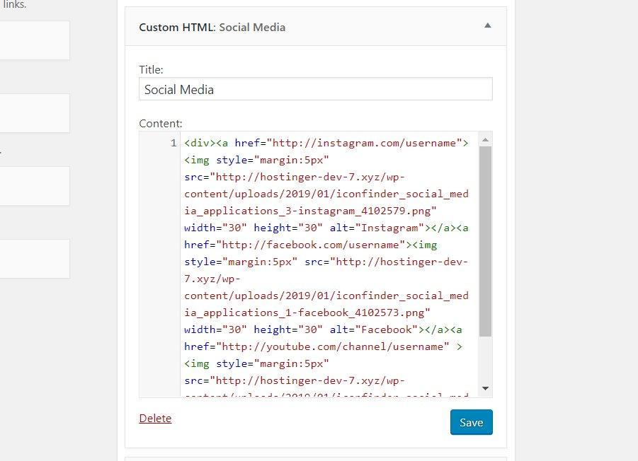 Ingresando los códigos para mostrar íconos de redes sociales como HTML personalizado