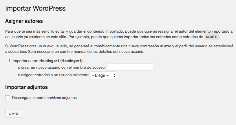 Página de importación de WordPress mostrando una sección donde se asignan autores.