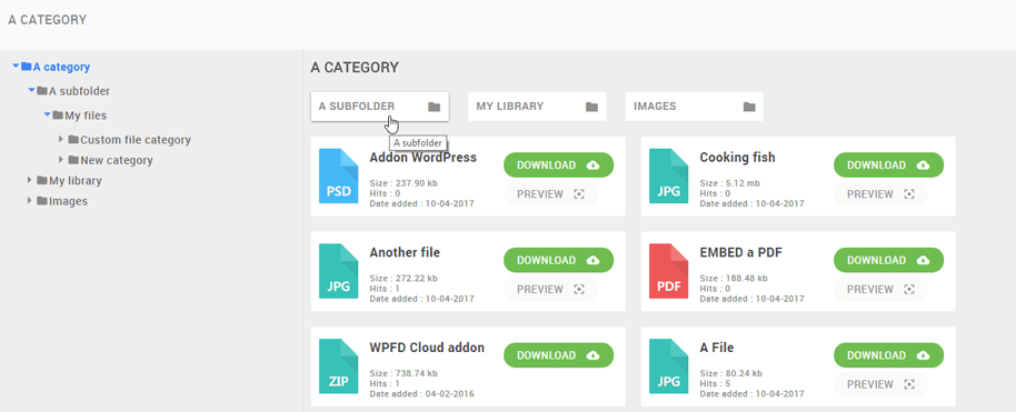 Interfaz de WordPress File Download