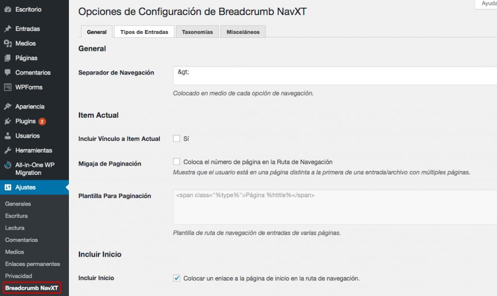 Página de configuración del plugin NavXT
