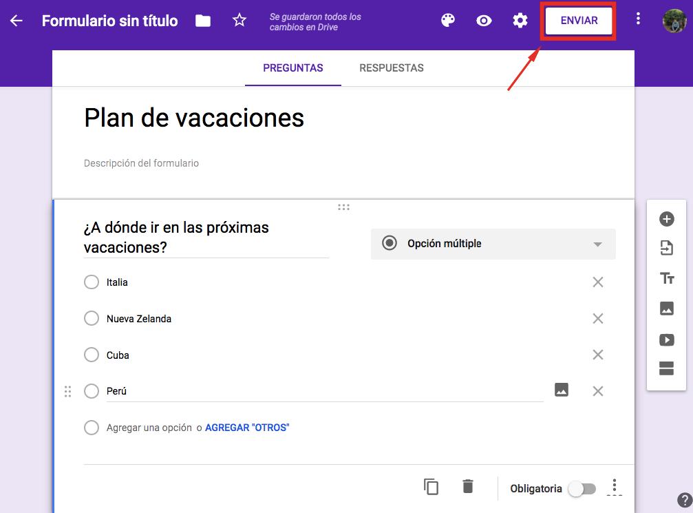 Obtener el enlace de formulario de Google haciendo clic en el botón Enviar