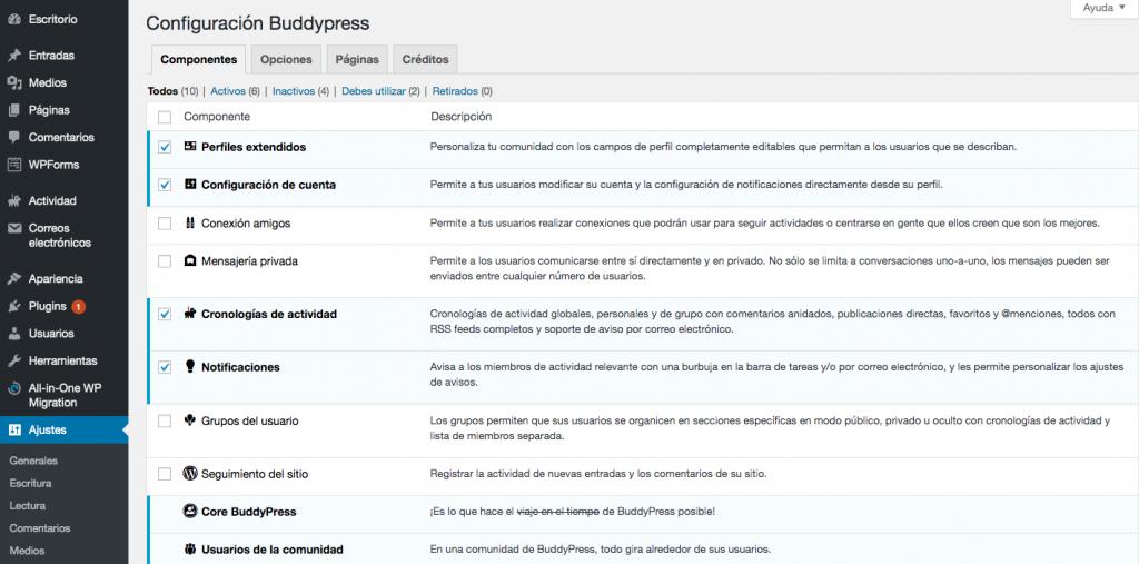 Página de componentes de BuddyPress