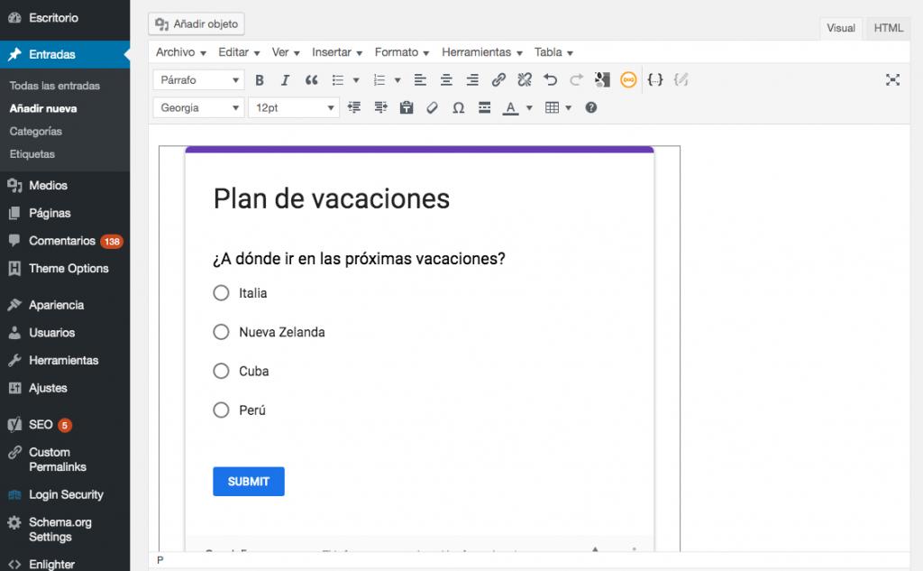 Cómo se ve Google Form en el editor visual clásico de WP