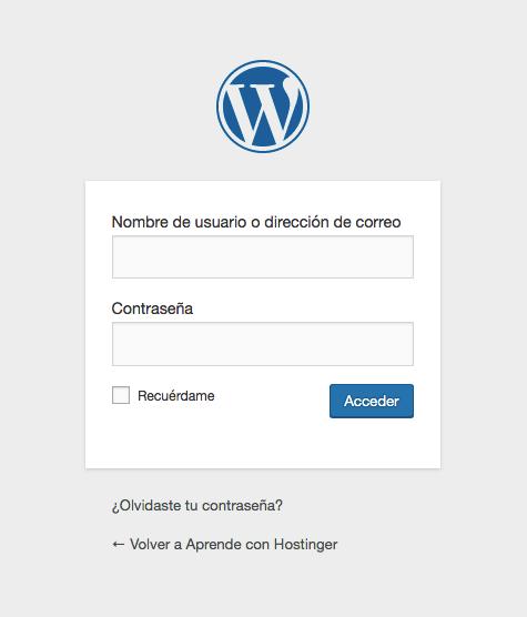 Página de inicio de sesión de WordPress en la página de inicio
