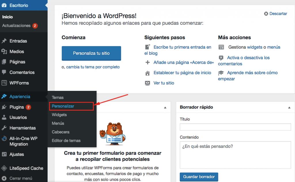 Elegir el menú de personalizar en WordPress