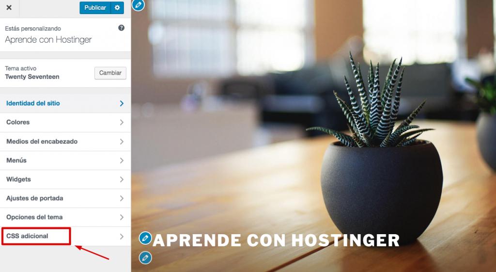 Elegir el menú CSS adicional en WordPress