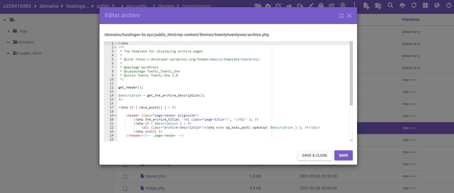 Editar plantilla de WordPress en el Administrador de archivos