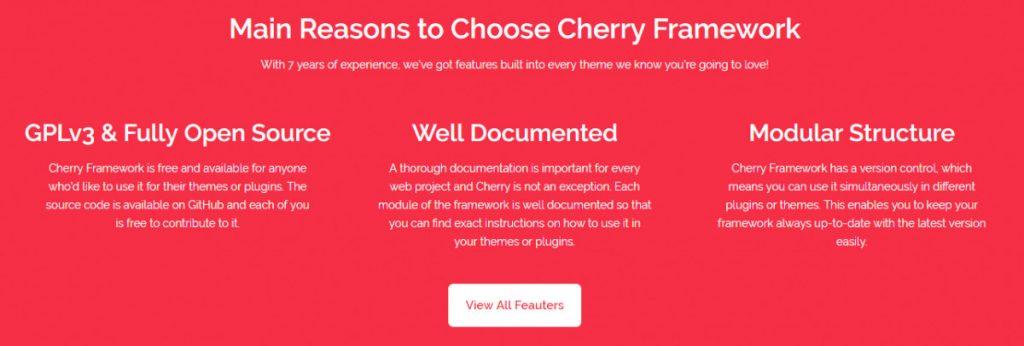 Características de Cherry Framework.