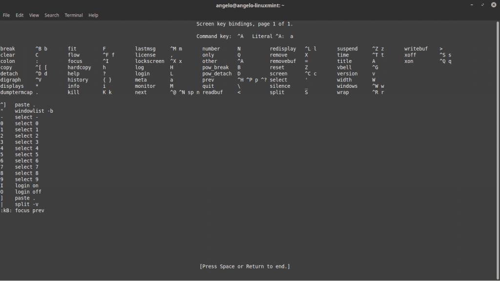 Lista de comandos de Linux Screen en Ubuntu