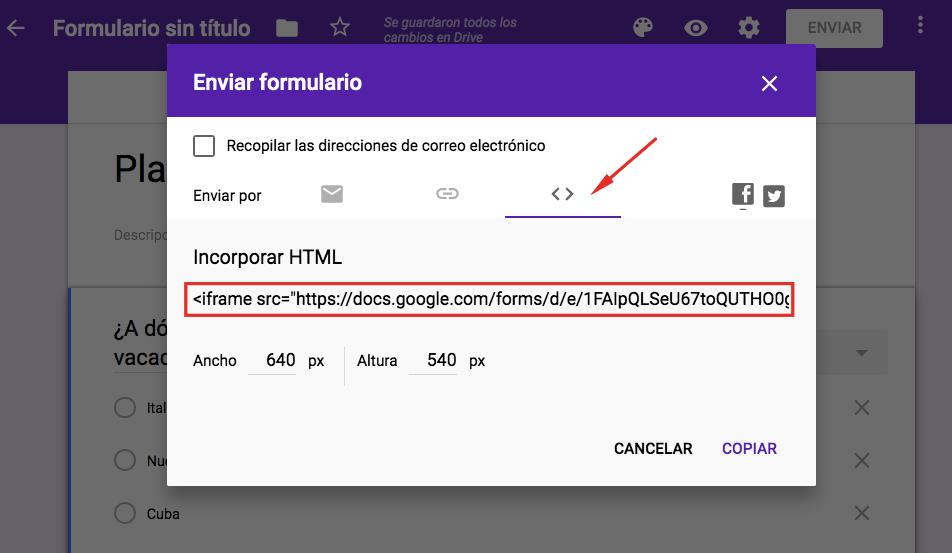 Copiando el enlace de formulario de Google desde la ventana emergente