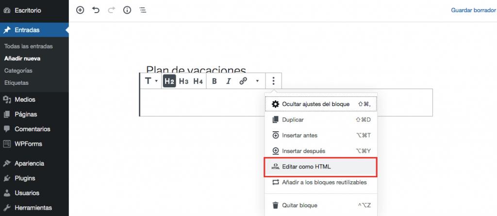 Cambio de edición como HTML en WordPress Nuevo diseño de editor