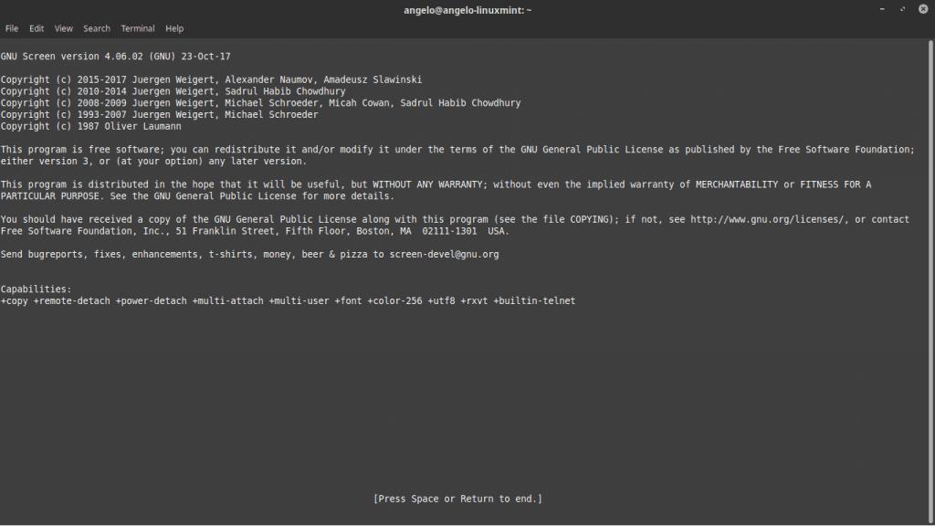 Ejecutando Screen de Linux en ubuntu